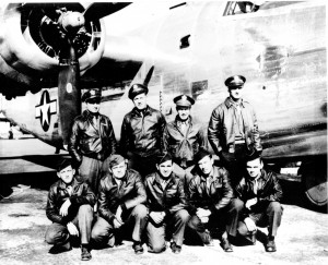 Val Preda Crew 601, 492nd Bomber Group.  Arthur St. Pierre is center, kneeling.