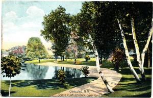 Concord New Hampshire's famous White Park shown in an antique postcard scene.