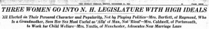 December 31, 1922 Boston Herald headline on the three women elected to the NH legislature