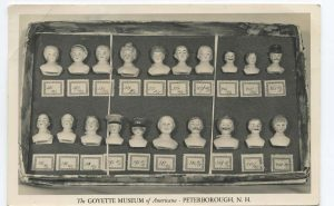 Postcard showing a collection of antique doll heads in the Goyette Museum, Peterborough NH
