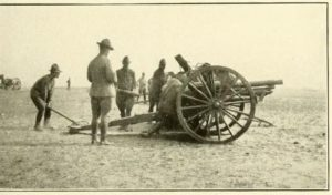 Gun Drill on American 3-inch field piece. 103rd Field Artillery. Quonset RI circa 1917.