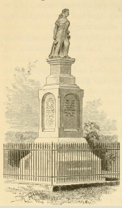 Hannah Dustin monument, drawing from page 70, Elementary History of the United States, 1884