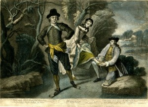 Hand-colored mezzotint with some etching; Winter (young man skating on a frozen lake, and a man helping a young woman to put her iceskates on; after Nicolas Lancret. 1758. Published by Thomas Burford. Print made by John Simon. Lettered below the image with the title, four lines of verse in two columns 'While chilly Blasts the chrystal River freeze, ... And gliding o'er the Ice with Chloe glows.' and 'N. Lancret pinxit. // J. Simon fecit. // T Burford Ex. 1758.'From The Britich Museum Collection Online.