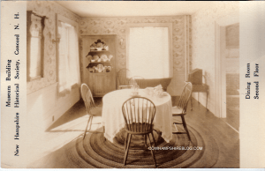 "Second Floor ""Dining Room"" museum display at NH Historical Society, pre 1911 (when it was located at 215 North Main Stret Concord NH)"