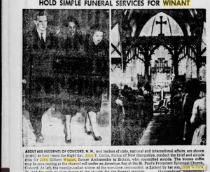The News-Herald newspaper of Franklin, Pennsylvania report on the funeral of John G. Winant