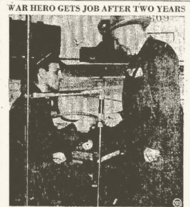 Photograph of Christos H. Karaberis seated in a bus, with Niles Persons the company manager.  Reportedly this was Christos'  first after 2 years out of the US Army. From  May 28, 1947 Kingston Daily Freeman, photo page 5
