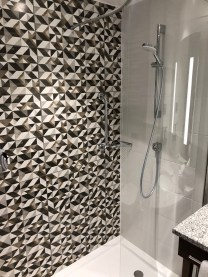 Colorful tile mosaic effect in the shower