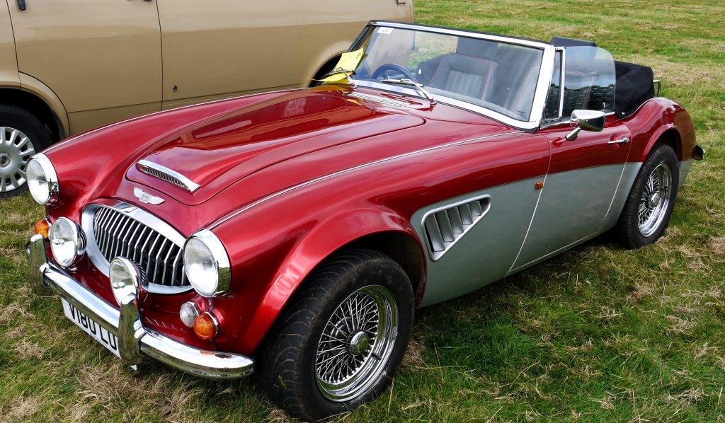 A maroon classic car
