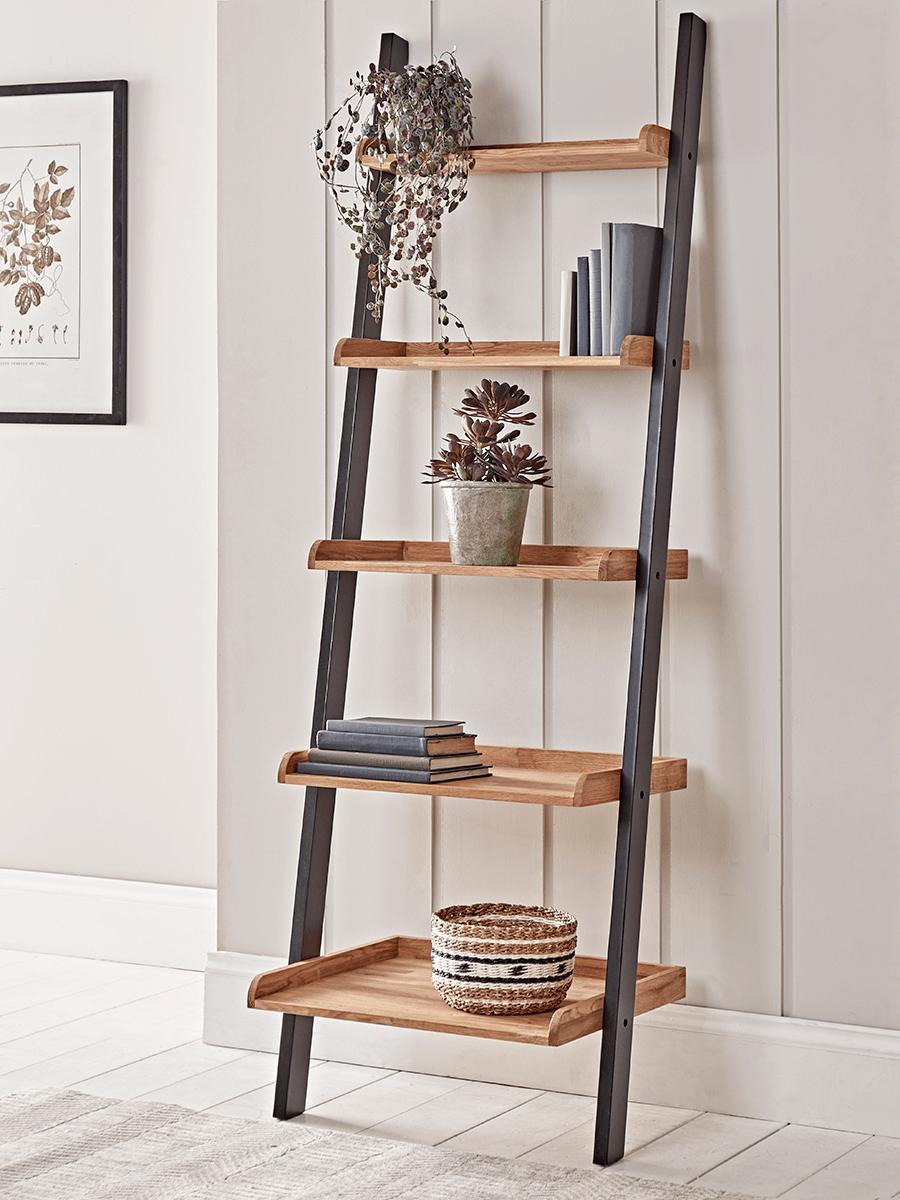 Leaning Oak Ladder Shelf