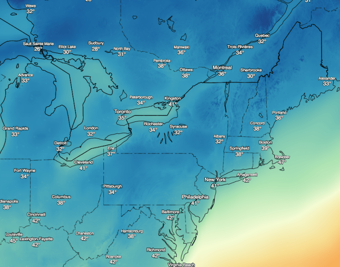 temperature map from DarkSky.net