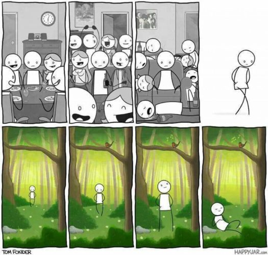 a person at a party, alone in a crowd, awake, walking, happy in the forest