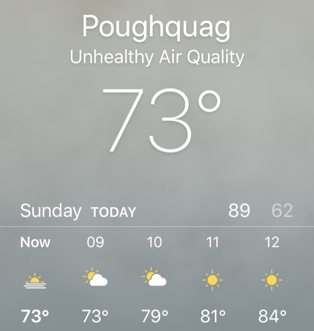 The weather: haze, and unhealthy air quality