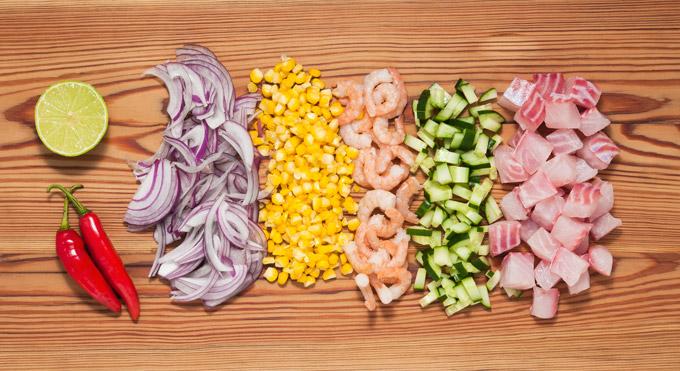 Ingredientes do Ceviche de camarão e peixe branco | Cozinha do João