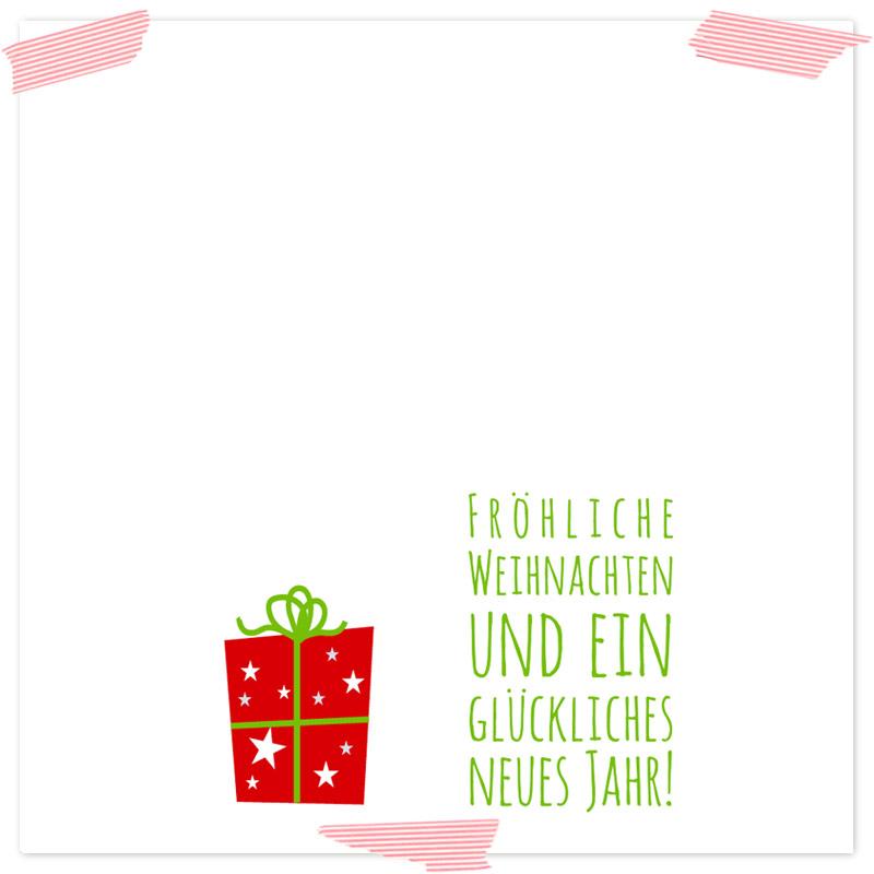 Gutscheinvorlage Päckchen, Innenansicht. Selbstgebastelte Gutscheinvorlage ideal als Last-Minute-Geschenk, mit Weihnachtsmotiven und Formularfeldern zum selber ausfüllen. Vorlagen als Download (Printable, Freebie)