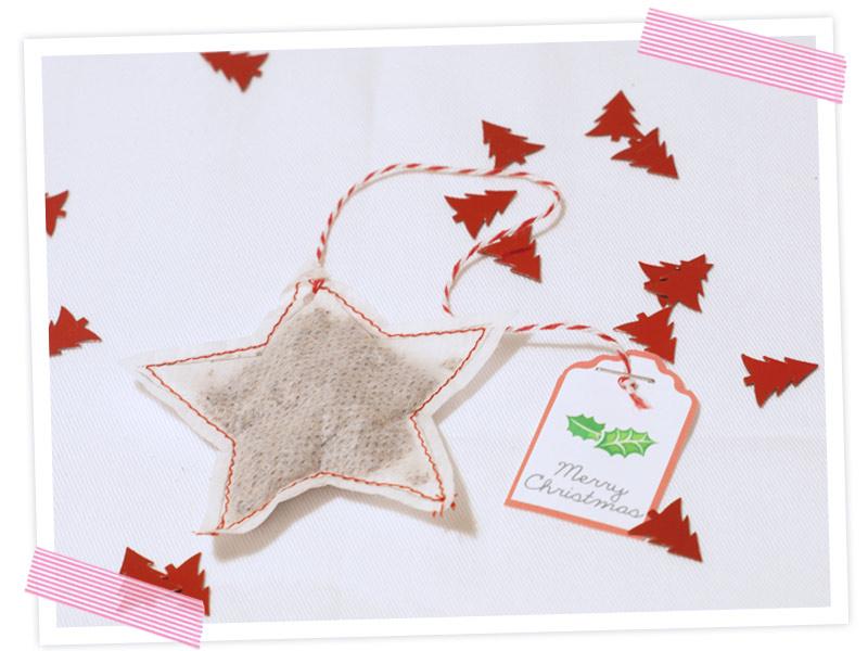Anleitung für einen Sternchenteebeutel. Instantweihnachten - Weihnachten in der Tüte verschenken. Anleitung
