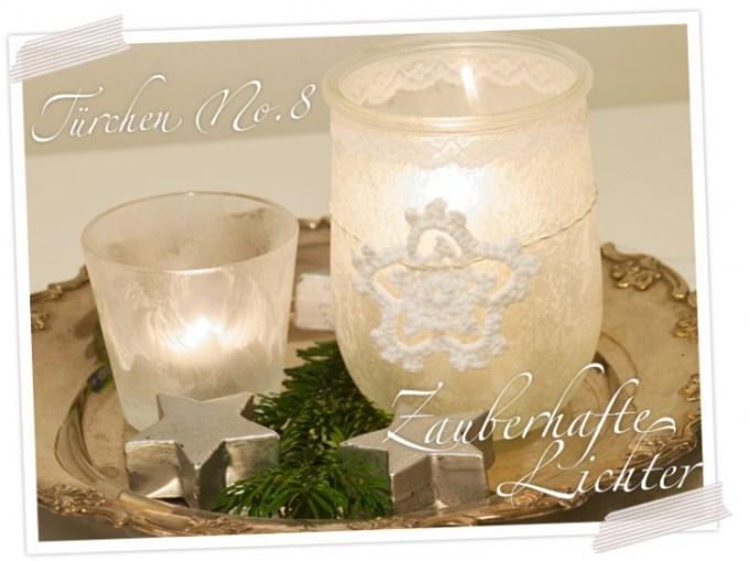 Zauberlicht - DIY Geschenkidee zu Weihnachten: Kerzenhalter mit Eisblumenspray und Häkelstern