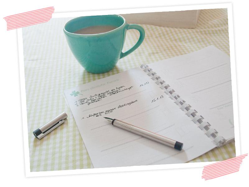 Schreibe jeden Tag deinen Glücksmoment in die Wochenansicht!