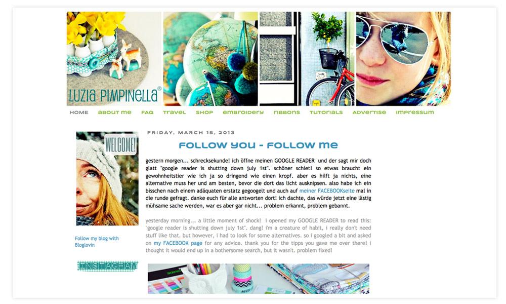 Frau Pimpi, wie Nic sich auch selbst nennt ist ebenfalls eine der erfolgreichsten Bloggerinnen Deutschlands. Auch Nic habe ich schon persönlich in Hamburg getroffen und sie ist in echt genau wie in ihrem Blog. Das sprühende Leben. Quirlig, lebendig und bunt. Ich bin ein Fan ihrer tollen Designs und habe sowohl schon Webbänder als auch Stickdateien von ihr gekauft.  An ihrem Blog liebe ich die tollen Fotos, die Mitmach-Aktionen, die Inspiration durch ihre herrlich-bunten und toll geschriebenen DIY-Anleitungen und die Reiseberichte.