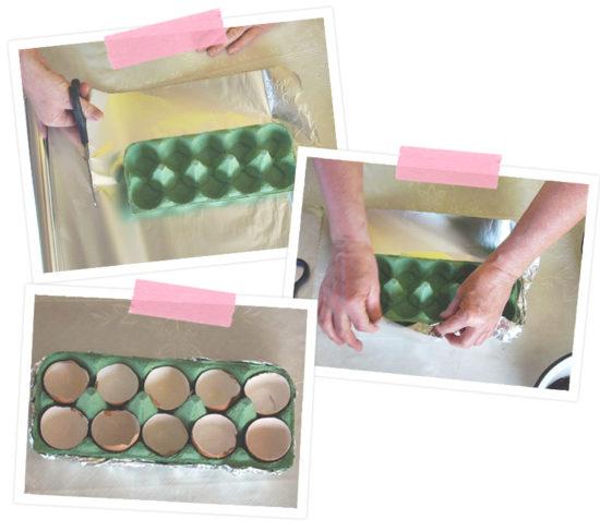 Dann schlagen wir die Eierpappe in die Alufolie ein, damit die Pappe wasserdicht ist.