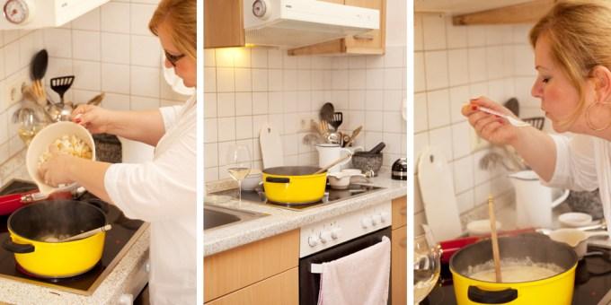 Kochen und abschmescken der Selleriesuppe