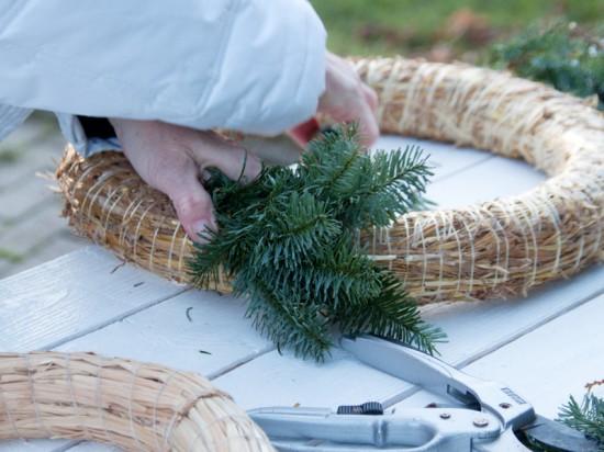 Dann werden die kleinen Sträuße um den Kranz gelegt. Dabei mit einer Hand festhalten und leicht andrücken, mit der Handen Hand den Blumenbindedraht um den Strauß wickeln.