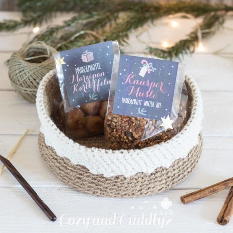 Advent: Anleitung für ein Häkelkörbchen aus Paketschnur -Häkelkorb - cozy and cuddly Adventskalender