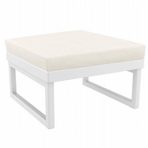 mykonos square ottoman white with sunbrella natural cushion