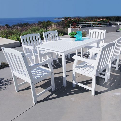 bradley classic 7 piece wood outdoor patio dining set with rectangle table white
