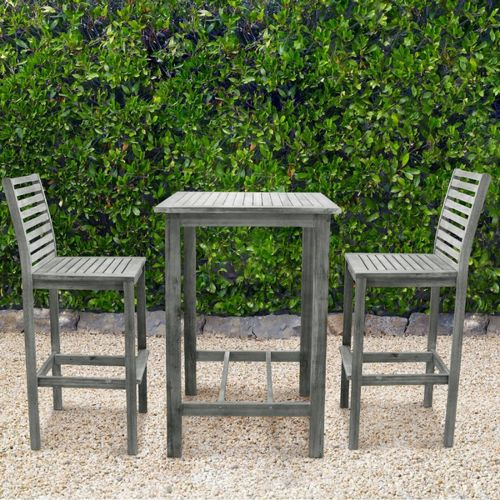renaissance outdoor bar set 3 piece vista gray