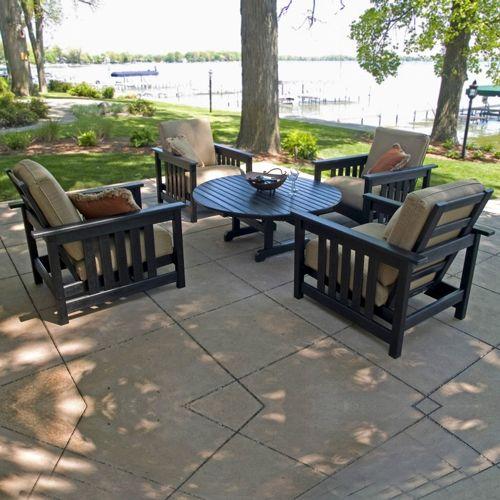 polywood plastic club mission patio chat set 5 piece