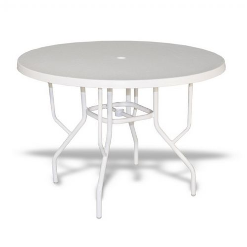 strap round patio dining table with fiberglass top white 42