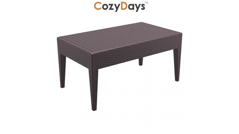 https www cozydays com outdoor furniture coffee tables miami wickerlook resin patio coffee table brown 36 inch 10143 html