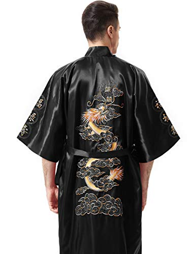 MENS Night Wear Japanese Dragon Men/'s Embroidered Night Gown Ideal Gift for all