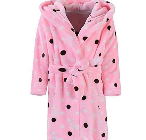 Toddler Kids Hooded Robes Plush Soft Coral Fleece Pajamas Sleepwear for Girls Boys Boys Girls Bathrobes