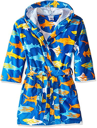 Komar Kids Ocean Print Cotton Hooded Terry Robe Cover Up Sizes 4-12