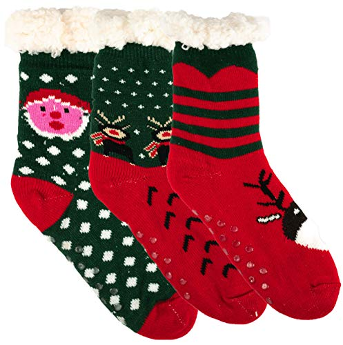 Durable 2 Pairs Sherpa Lined Women/'s Thermal Slipper Socks Nonskid Fuzzy Cozy Shoe 4-10 Color 1 Pair Red 1 Pair White