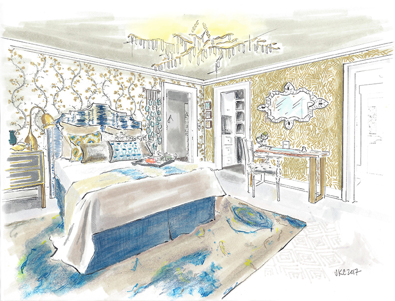 Cozy Stylish Chic Guest Bedroom Rendering for the 2017 Pasadena Showcase House of Design