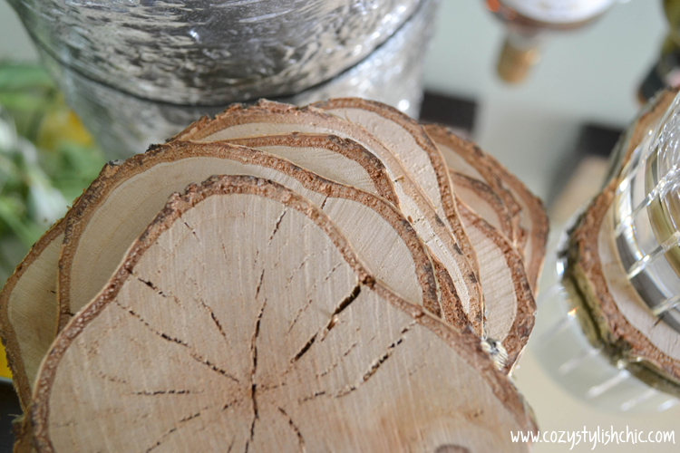 A quick and easy DIY on how to make a set of gold rimmed white birch coasters