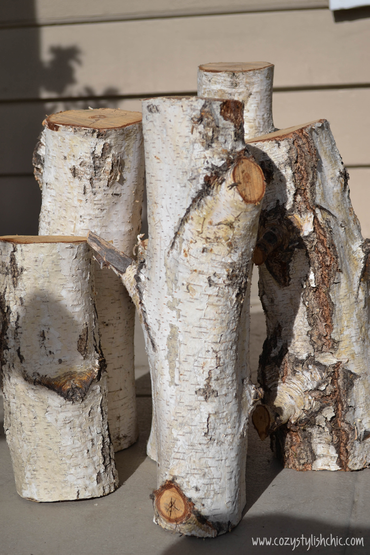 DIY – How to Make a Set of Tree Stump Candle Holders for the Holidays via Cozy•Stylish•Chic