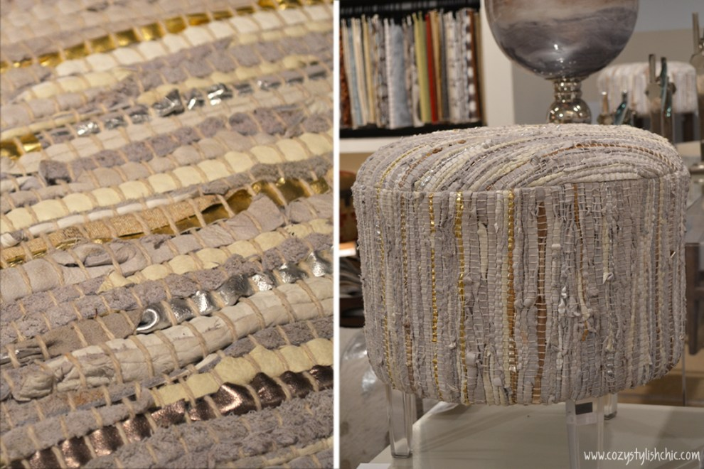 metallic and leather woven stool