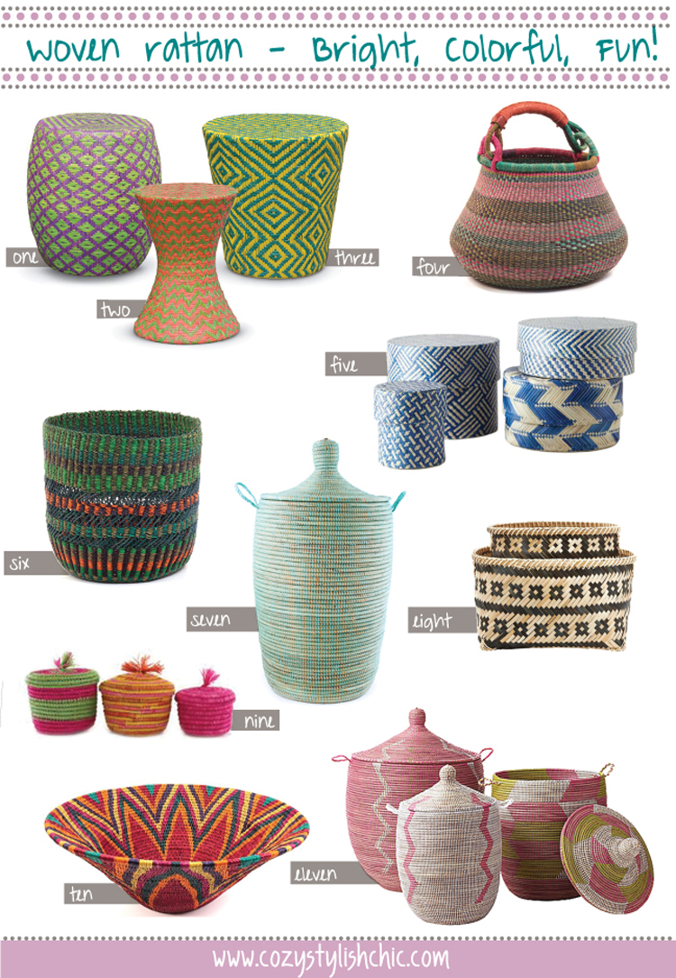 Colorful Woven Baskets and Home Decor curated by Cozy•Stylish•Chic