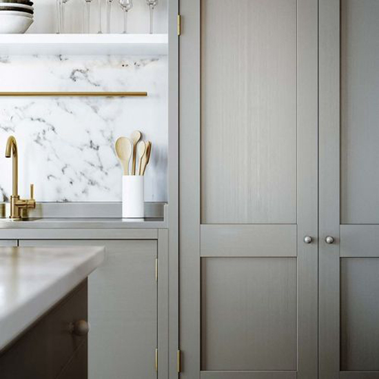 grey and antique brass