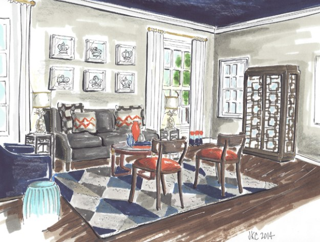 Living Room in a Flash illustrated by Jeanne K Chung of Cozy•Stylish•Chic