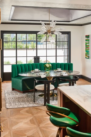 Eclectic Altadena Breakfast Room - emerald green banqutte and oval table | Designer: Jeanne K Chung of Cozy Stylish Chic