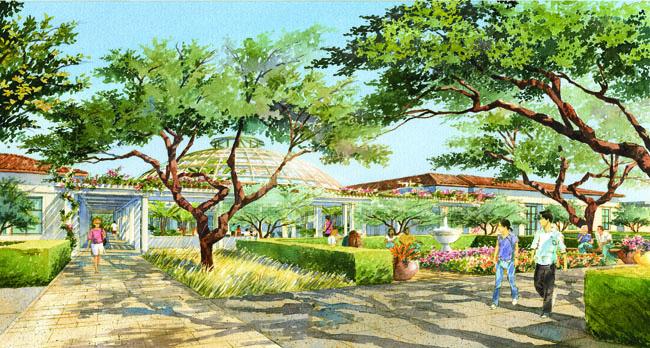Rose Hills Foundation Garden Court rendering - Huntington Library