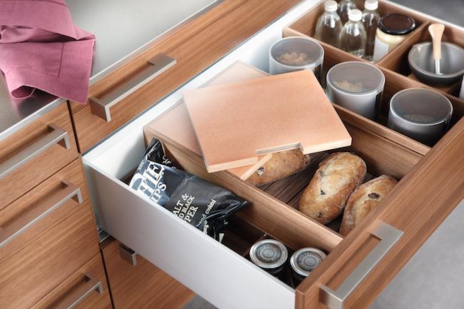 Poggenpohl-organized kitchen drawers, bread box via Cozy Stylish Chic