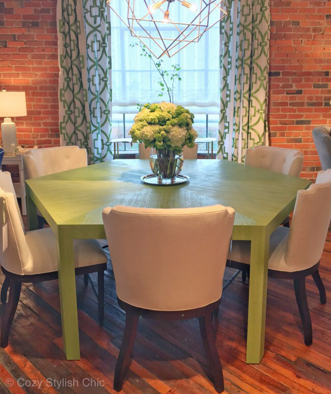 Thibaut grass cloth wallpaper covered dining table - Wall finishes on furniture