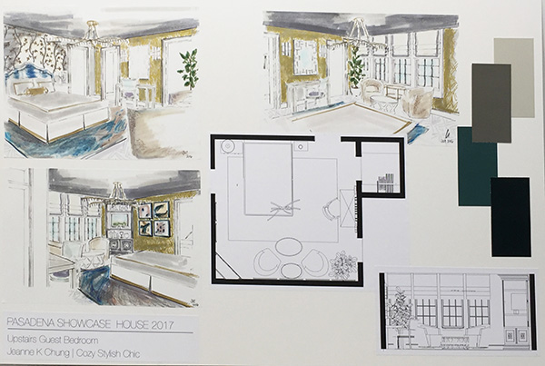 2017 Pasadena Showcase House-Cozy Stylish Chic hand rendering