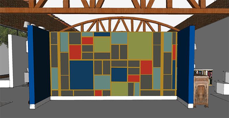 Benjamin Moore Century De Stilj inspired art wall by Cozy Stylish Chic