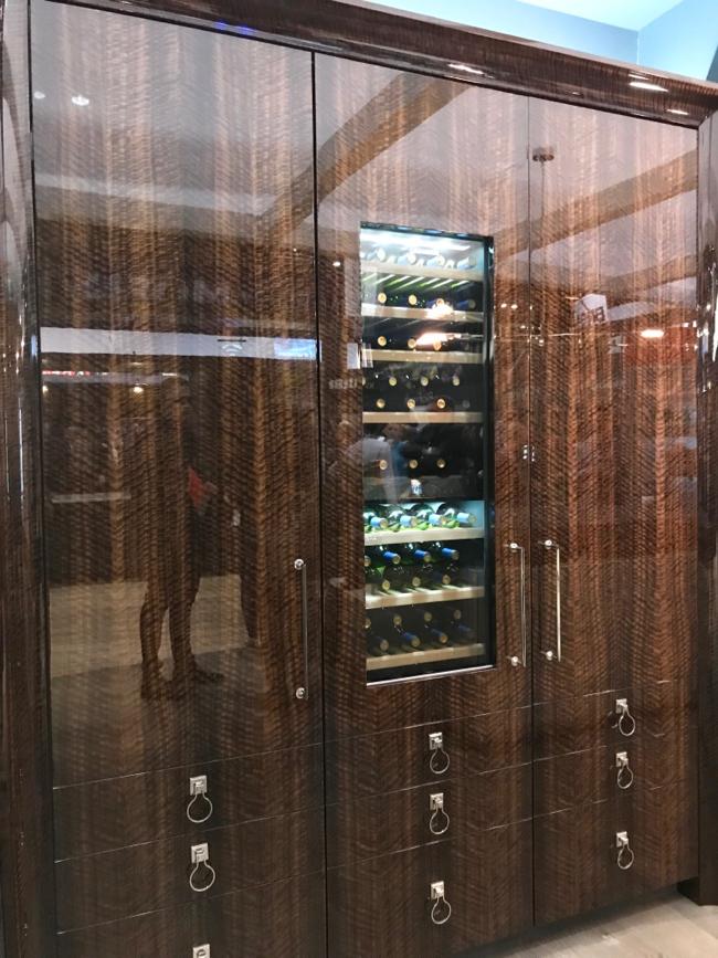 High gloss fumed eucalyptus cabinetry door fronts